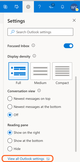 all Outlook settings